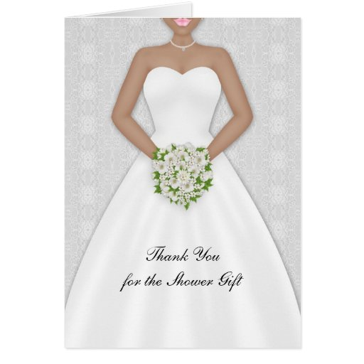 Bride, African American Bridal Shower Thank You Greeting Cards