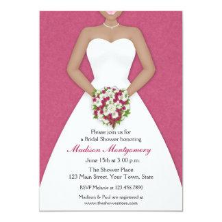Bride, African American, Fuschia Shower Invitation