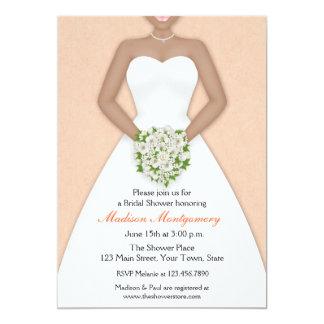Bride, African American, Peach Shower 13 Cm X 18 Cm Invitation Card
