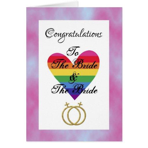 bride and bride gay lesbian Congratulations Greeting Cards