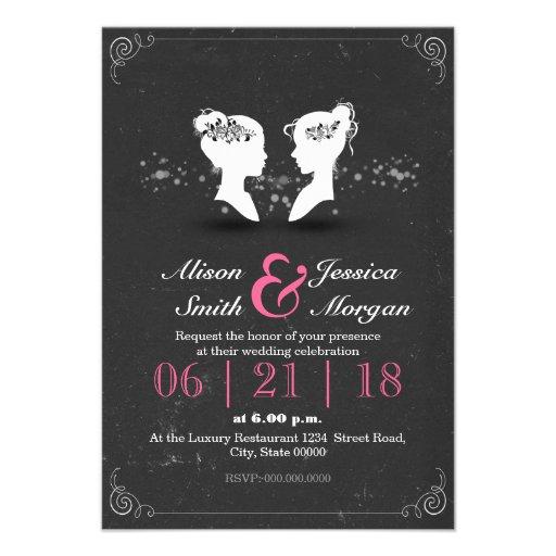 Bride and Bride - Lesbian wedding Invite