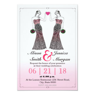 Bride and Bride - Lesbian wedding invitation