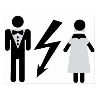 bride and bridegroom icon postcard