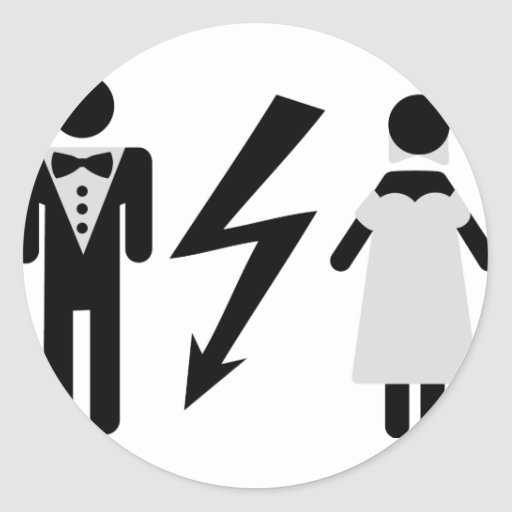 bride and bridegroom icon round sticker