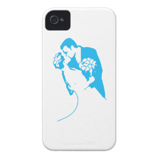 Bride and Groom 01 Light Blue iPhone 4 Case