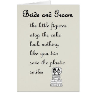 Bride and Groom - a funny wedding poem Greeting Card