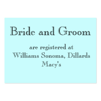 Bride and Groom, are registered at... Business Card Template