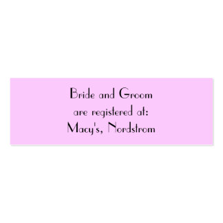 Bride and Groom are registered at:... Pack Of Skinny Business Cards