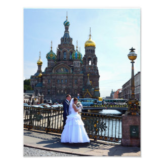 Bride and Groom at St. Petersburg, Russia, Church Photographic Print