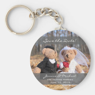 Bride and Groom Bears Wedding Save the Date Basic Round Button Key Ring