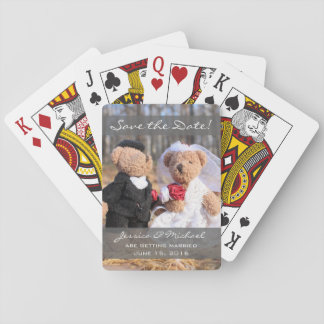 Bride and Groom Bears Wedding Save the Date Poker Deck