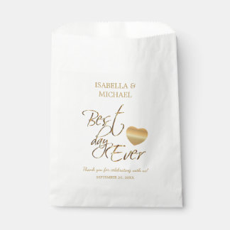 Bride and Groom Best Day Ever - White and Gold Favour Bags