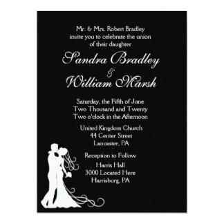 Bride and Groom Black and White 17 Cm X 22 Cm Invitation Card