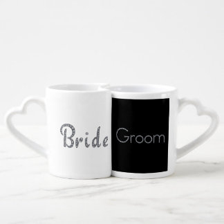 Bride and groom bling couples mug set