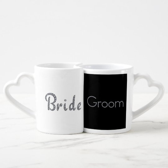Bride and groom bling couples mug set