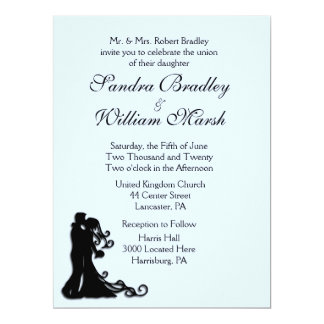 Bride and Groom Blue 17 Cm X 22 Cm Invitation Card
