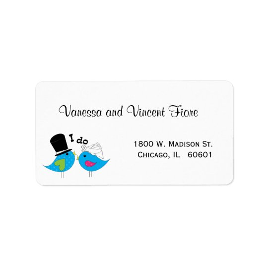 Bride And Groom Blue Birds Of Happiness Label