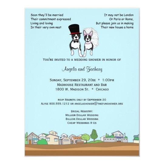 Bride And Groom Boston Terrier Wedding Shower Card