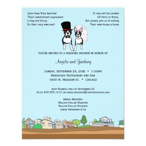 Bride And Groom Boston Terrier Wedding Shower 11 Cm X 14