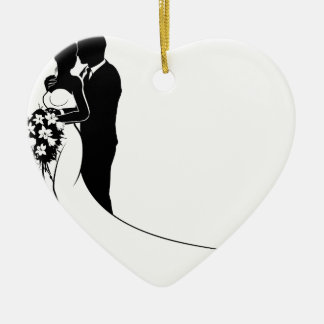 Bride and Groom Bouquet Wedding Silhouette Ceramic Heart Decoration