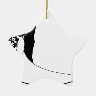 Bride and Groom Bouquet Wedding Silhouette Ceramic Star Decoration