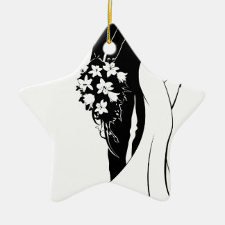 Bride and Groom Bouquet Wedding Silhouette Christmas Ornament