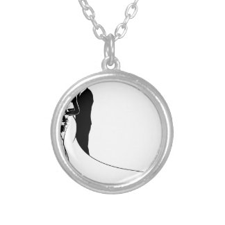 Bride and Groom Bouquet Wedding Silhouette Silver Plated Necklace