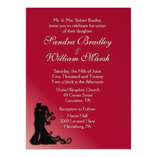 Bride and Groom Burgundy 17 Cm X 22 Cm Invitation Card