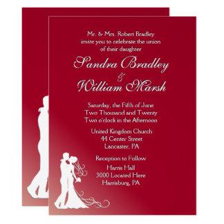 Bride and Groom Burgundy Wedding Invitation