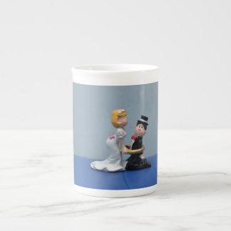 Bride and groom cake topper porcelain mugs