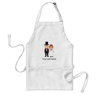 Bride and groom cartoon apron