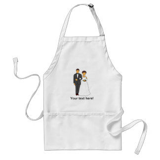 Bride and groom cartoon standard apron
