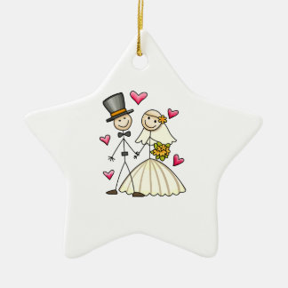 Bride and Groom Ceramic Star Decoration