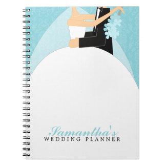 Bride and Groom Custom Wedding Planner {aqua} Notebook