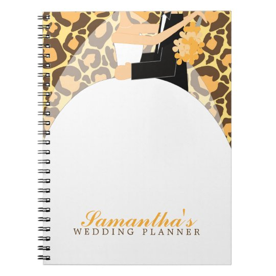 Bride and Groom Custom Wedding Planner {leopard} Notebooks