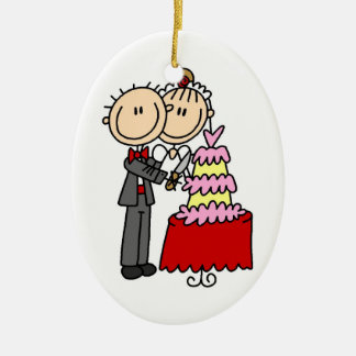 Bride and Groom Cut the Cake T-shirts and gifts Ceramic Oval Decoration