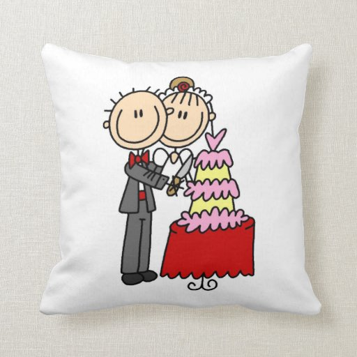 Bride and Groom Cut the Cake T-shirts and gifts Pillows