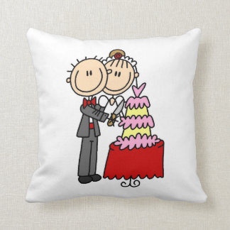 Bride and Groom Cut the Cake T-shirts and gifts Throw Pillow
