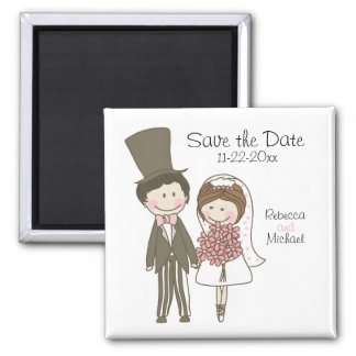 Bride and Groom Cute Cartoon Save the Date Wedding Square Magnet
