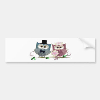 Bride and Groom cute Owls Art Bumper Sticker