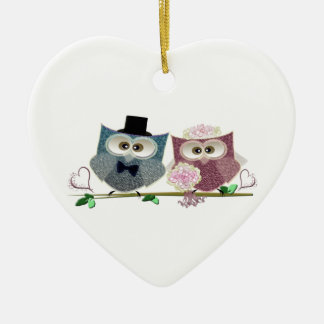 Bride and Groom cute Owls Art Ceramic Heart Decoration