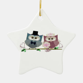 Bride and Groom cute Owls Art Ceramic Star Decoration