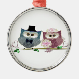 Bride and Groom cute Owls Art Christmas Ornament