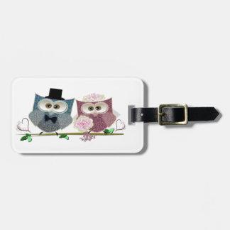 Bride and Groom cute Owls Art Luggage Tag
