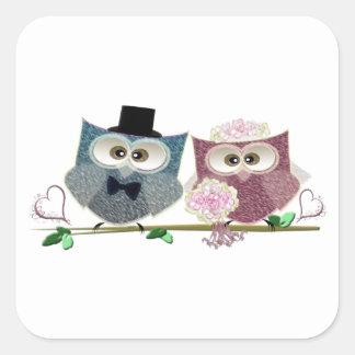 Bride and Groom cute Owls Art Square Sticker