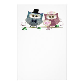 Bride and Groom cute Owls Art Stationery