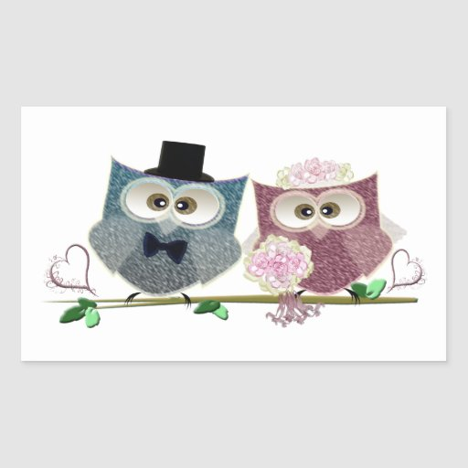 Bride and Groom cute Owls Art Rectangle Sticker