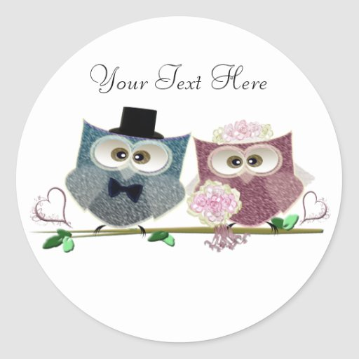 Bride and Groom cute Owls Art Stickers