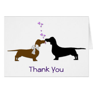 Bride and Groom Dachshunds Wedding Thank You Card