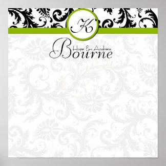 Bride and Groom Damask Swirl Green Wedding Poster